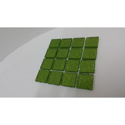 Glitter Glass Lime Green 23x23x4mm