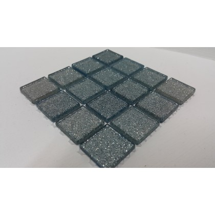 Glitter Glass Baby Blue 23x23x4mm