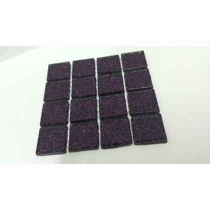 Glitter Glass Purple 23x23x4mm