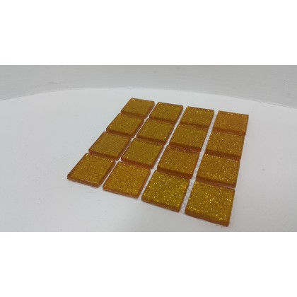 Glitter Glass Yellow Gold 23x23x4mm