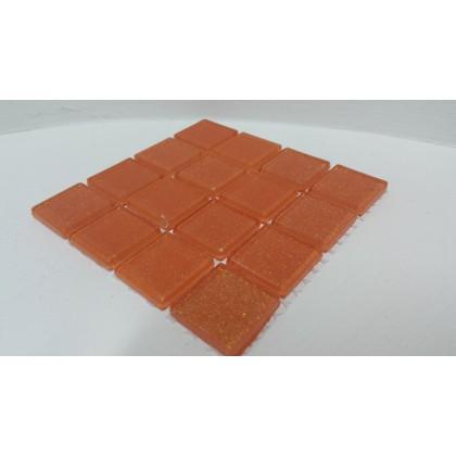 Glitter Glass Tangerine 23x23x4mm