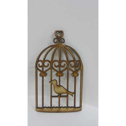 Wooden Cutout Bird Cage