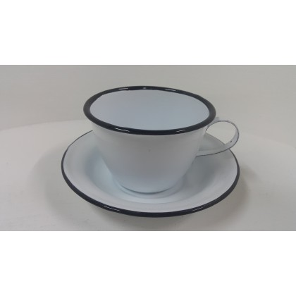 Enamel Cup and Saucer