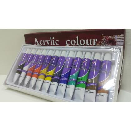 Kaibo Acrylic Colour-12 tubes 12ml